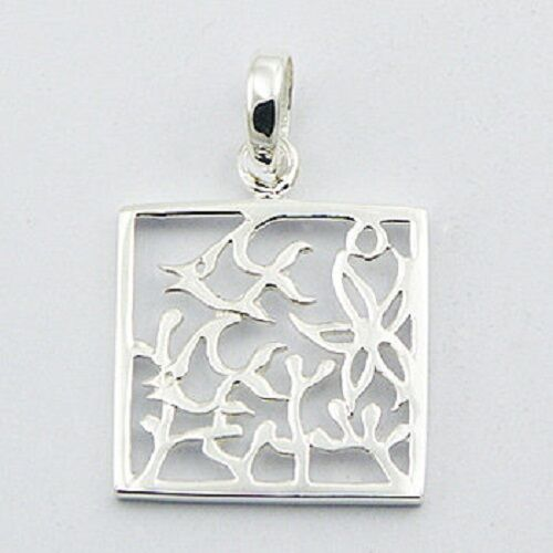 Silver pendant Arty Underwater Scene Fish 925 Ajoure sterling silver 21mmx 32mm