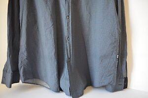 HUGO BOSS MEN'S SLIM FIT BUTTON FRONT BLUE CHECKED DRESS SHIRT XXL NWT