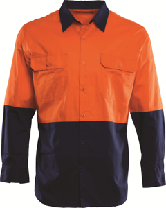 Workhorse HI-VIS VENTED SHIRT MSH061 Long Sleeve orange NAVY- Size S, M, L Or XL