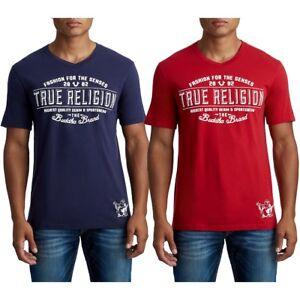 True-Religion-Herren-collegiate-Buddha-Grafik-V-Neck-Tee-T-Shirt