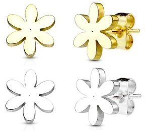 aebd7dd4d Image is loading Daisy-Flower-Stud-Earrings-Hypoallergenic-316L-Steel-GOLD-