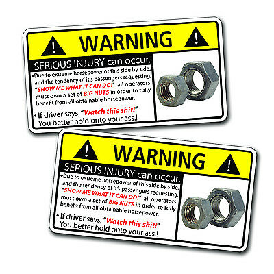 SxS Side By Side Nuts Warning Decal Sticker Can AM Polaris UTV Yamaha Kawasaki