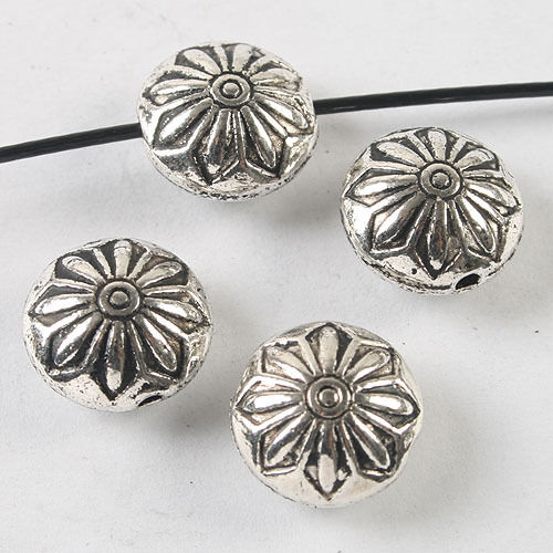 6pcs dark silver tone Oblate flower spacer beads h3789