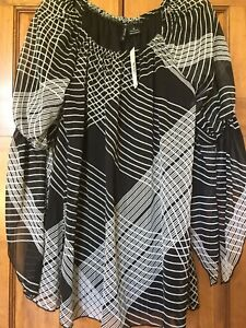 ca1d67f9d6b0aa NWT Belks New Direction Medium M 3 4 Sleeve Tunic Long Top  48 Black ...