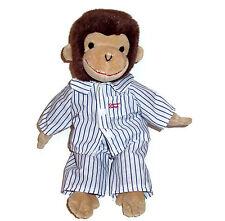 "14"" Gund Curious George Monkey Plush Blue Stripe Pajamas Stuffed Animal Toy"