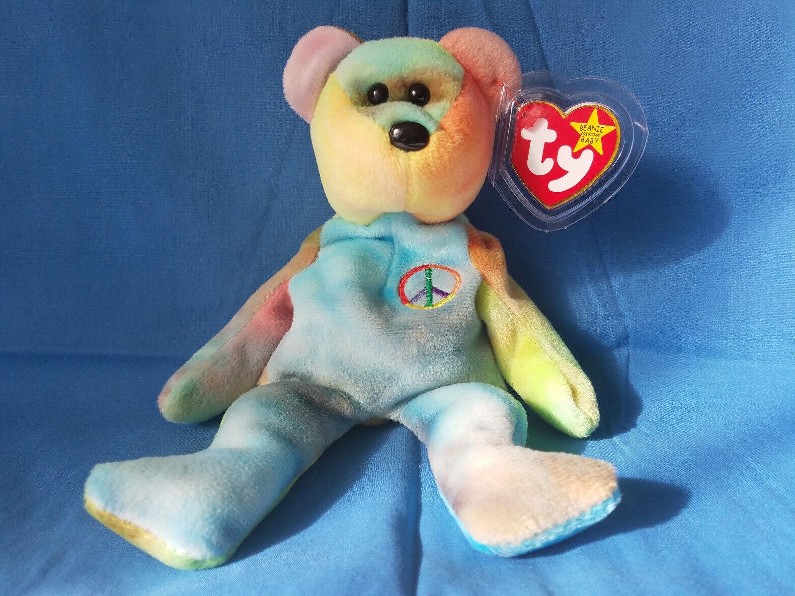 New Very Rare Mint Rainbow Peace Bear Retired Ty Beanie Baby 5 Major Tag Errors