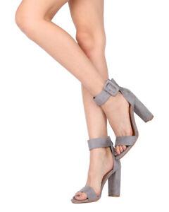 f6f436e0491 New Women Britany-1 Faux Suede Open Toe Ankle Cuff Block Heel Sandal ...