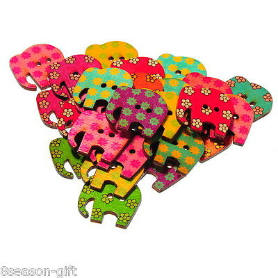 50pcs 2 Holes Mixed Elephant Wooden Sewing and Scrapbook Buttons 3x2.9cm