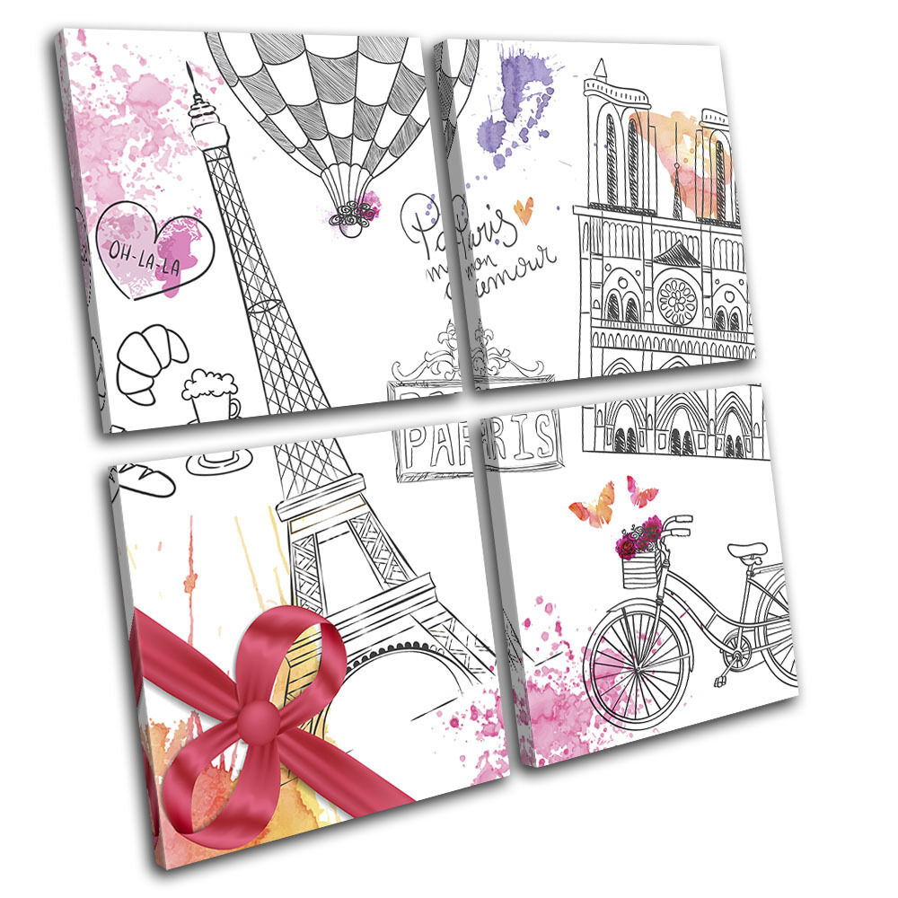 Paris Bicycle CafÚ Love Travel Travel Travel Landmarks MULTI TELA parete arte foto stampa dd8811