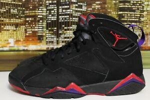 9b6d7224b9c Air Jordan Retro 7 Raptors Black Purple Red 2002 Basketball Sneakers ...