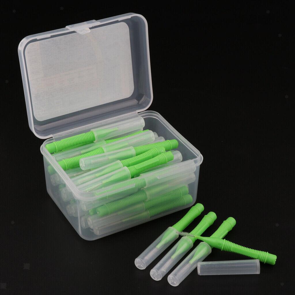 40 Lose Dental Brush Flosser Zahnstocher Stick mit tragbarem Etui Grün 0,8 mm