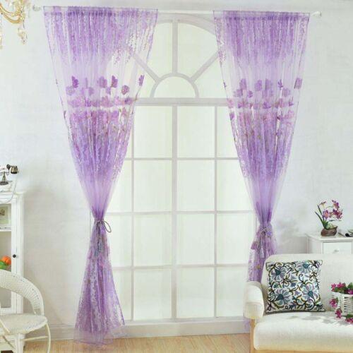 2PCS Floral Scarf Sheer Voile Window Curtain Drape Panel Tulle Valances Divider
