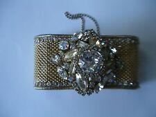 Vintage Hobe Rhinestone Saphiret Mesh Bracelet