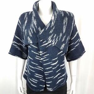Gap-Women-039-s-Sweater-Size-XS-Open-Front-Wool-Blend-Short-Sleeve-Blue-White