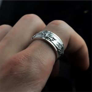 Solido-de-plata-esterlina-925-Anillo-De-Hombre-Anillo-de-Hilandero-De-Dragon-8mm-Banda-De-Regalo