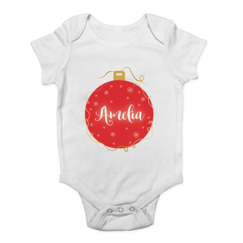 Personalised Christmas Red Bauble Any Name Baby Grow Vest Bodysuit