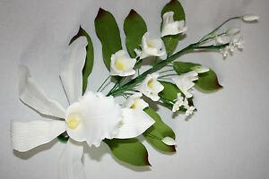 Spray de orquídeas, extra grande, blanca, flores, Pastel Topper de azúcar, pasta de azúcar,