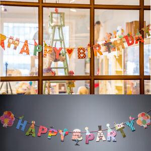 Drole-Colore-Joyeux-anniversaire-Bruant-Guirlande-lettres-Parti-Suspendu-Banniere-Decoration