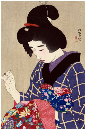 2479 Japanese girl sewing.Asian design vintage Poster Oriental Decorative Art.