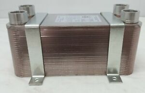 """100 Plate Water to Water Brazed Plate Heat Exchanger 1 1/4"""" FPT Ports w/ Bracket"""