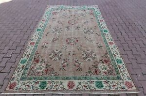 Medallion Design Carpet Anatolian Vintage Handmade Floral Ethnic Area Rug 7x10ft