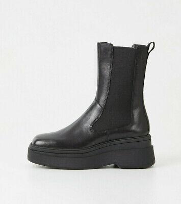 Vagabond Tara Black Leather Mid-Calf Chelsea Platform Boots US8.5 EU40