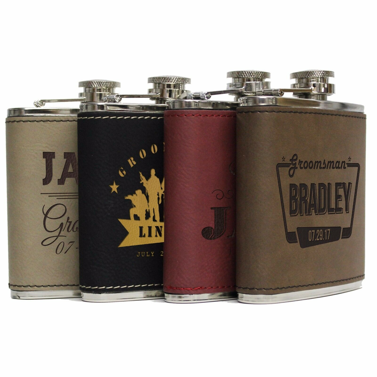 Mens Wedding Party Gifts: Custom Leather Flask Set With Funnel