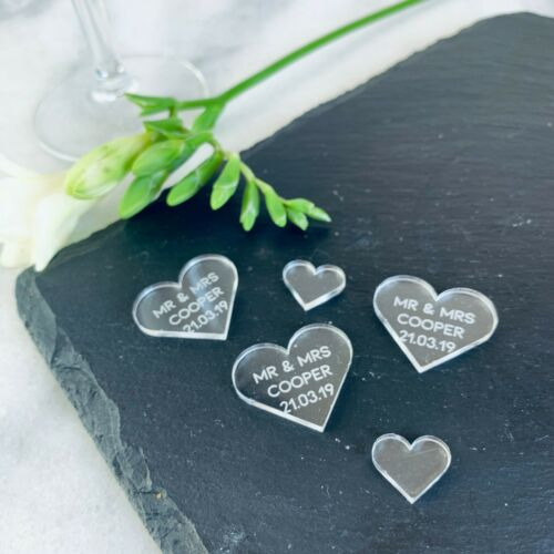 Confetti Heart Favours Personalised Acrylic Scatter Hearts Table Decorations