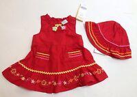 Gymboree Fiesta Fiesta 0-3 Month Red Embroidered Flower Dress & Ric Rac Hat