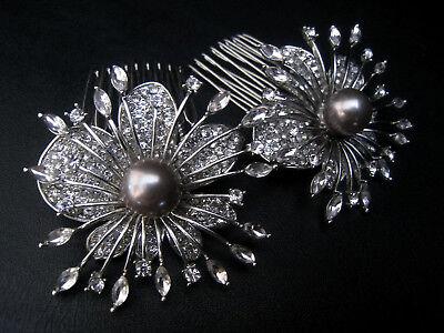 2 Pz Perla Cristallo Fiore Capelli Pettine Set-abiti Da Sposa Nozze Abito Da Sera-mostra Il Titolo Originale