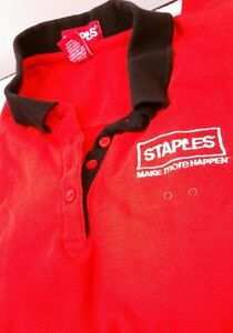 Details about STAPLES EMPLOYEE POLO WOMENS BLACK RED WORK SHIRT L LARGE SHORT SLEEVE FREE SHIP