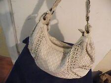 ISABELLA FIORE Off White Ivory Rivets Weave Leather Shoulder Bag Handbag Purse