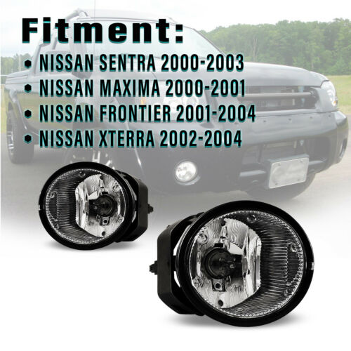 Fits 01-04 Nissan Frontier// 02-04 Xterra// Maxima Clear Fog Lights Switch/&Wiring