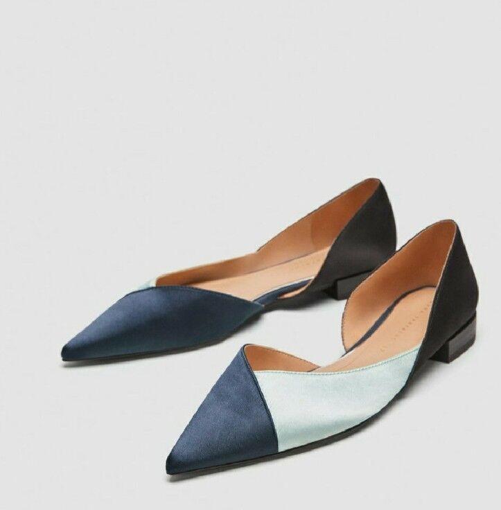Zara femmes Taille 6 bleu Tri-Couleur Ballerina Flats chaussures Couleurblock NWT