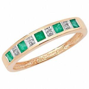 SMERALDO-E-ANELLO-ETERNITY-con-diamante-oro-giallo-ANNIVERSARIO-CERTIFICATO