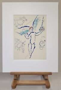 MARC-CHAGALL-Mourlot-Farblithographie-Anno-1965-Der-Engel-L-Ange