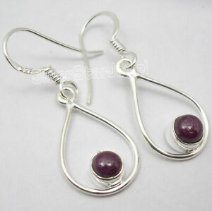 NATURAL-RUBY-925-Solid-Sterling-Silver-Dangle-Earrings-1-4-034-Wedding-Jewellery