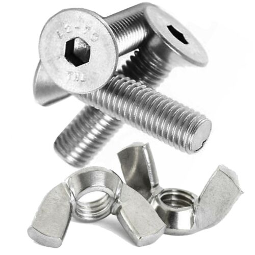M10 A2 STAINLESS STEEL MACHINE SCREWS COUNTERSUNK BOLTS SOCKET BOLTS Wing Nuts