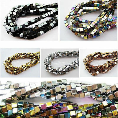 16'' 100 Pcs Hematite Gemstone Square Cube Metallic Spacer Beads Findings 4x4mm