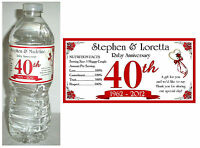 20 Ruby 40th Anniversary Water Bottle Labels Glossy Waterproof