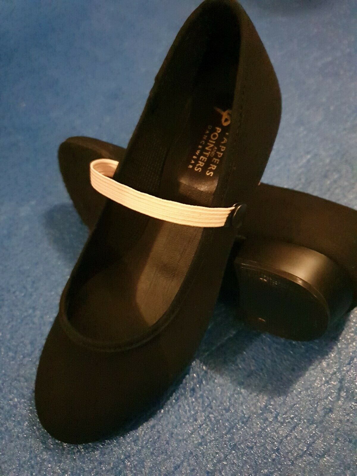 Black Canvas Character Shoes Low Heel Tappers & Pointers Child Size 9
