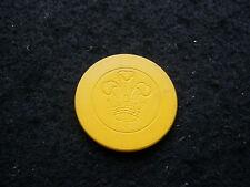 Yellow Antique Poker Chip Flur de Lis Clay Vintage Rare Old Gambling Game Gift