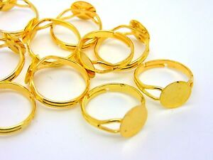 20-Pcs-Gold-Plated-Adjustable-Ring-Blanks-10mm-Flat-Pad-Glue-Jewellery-H59