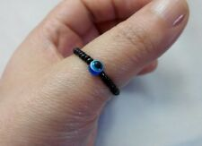 Resin Blue Evil Eye Charm Black Bead Stretch Thumb Finger Toe Ring LUCKY Success