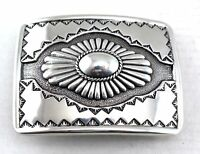 Southwestern Western Silver Tooled And Engraved Concho Cowboy Belt Buckle