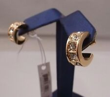NWT COACH BEVELED Pave Swarovski Crystal Huggie Gold Earrings 26503