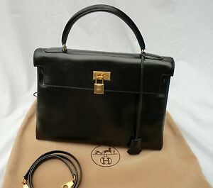 7252080a9053 Image is loading Hermes-Box-Calf-Leather-Kelly-32-Sellier-Handbag