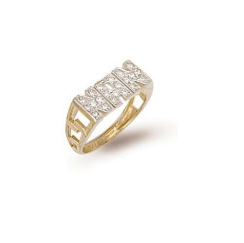 9ct Gold CZ Set NAN Ring With ID Sides  Size W /& Q 1//2  AVAILABLE ONLY   NEW