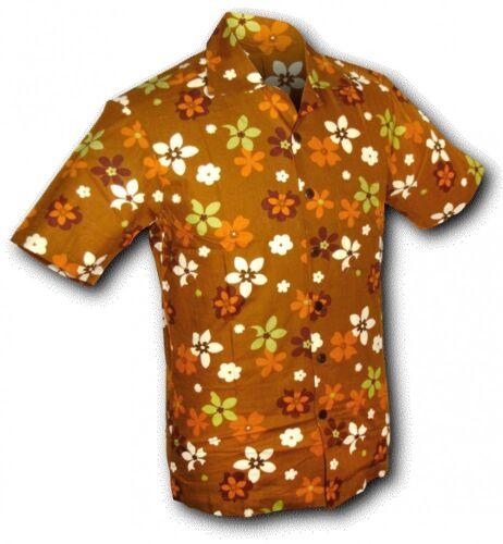 Chenaski Camicia Maniche Corte FRIDGE-FLOWERS MARRONE
