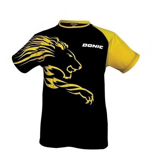 Donic Maglietta Lion black yellow Tischtennistrikot Shirt Badminton Ping-Pong T